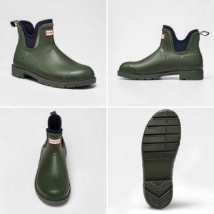 Hunter Target Ankle Rain Boot Mens Olive Green New